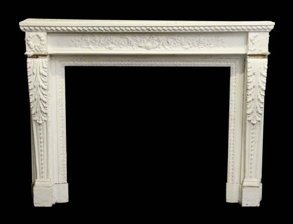 Antique French White Carved Wood Mantel - Mantels