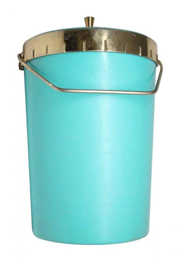 Vintage Mid Century Blue & Brass Ice Bucket - Kitchen