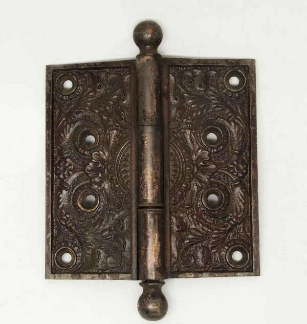 Antique Victorian Floral Bronze Hinge - Door Hinges