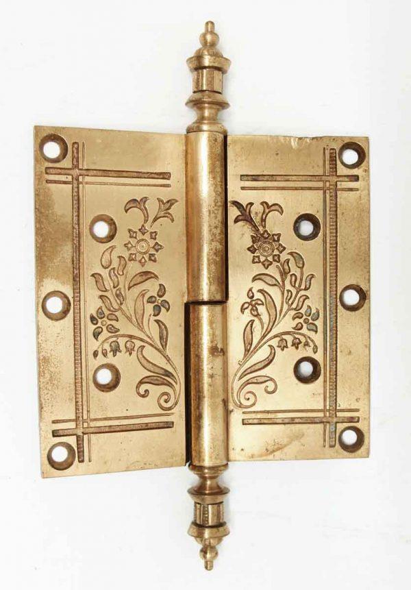 Victorian Floral Bronze Hinge with Steeple Tips - Door Hinges