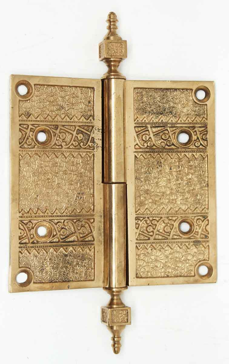 Victorian Field Pattern Gilded Bronze Door Hinge