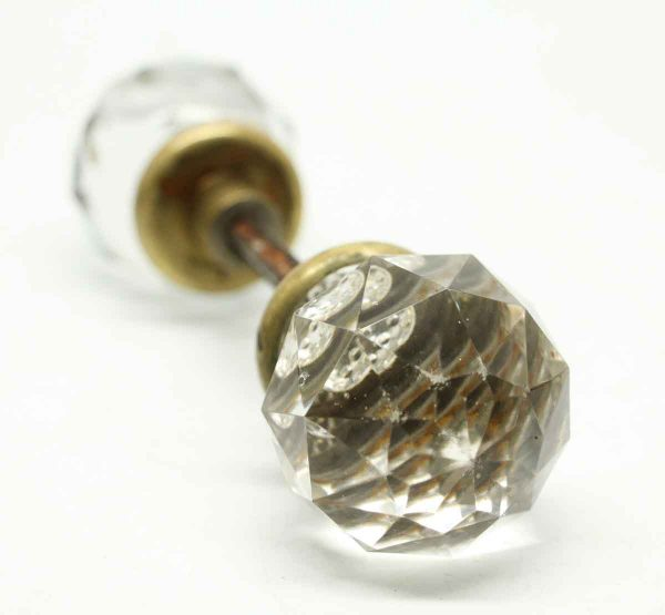 Vintage Pair of Clear Cut Crystal Knob Set - Door Knobs