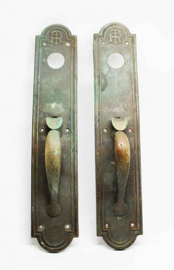 Antique Emblematic TR Pair of Bronze Door Pulls - Door Pulls