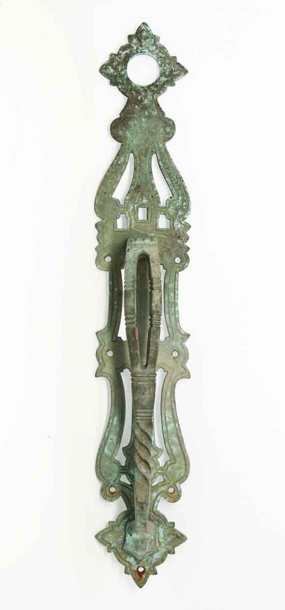 Antique Arts & Crafts Door Pull with Verdigris Patina - Door Pulls