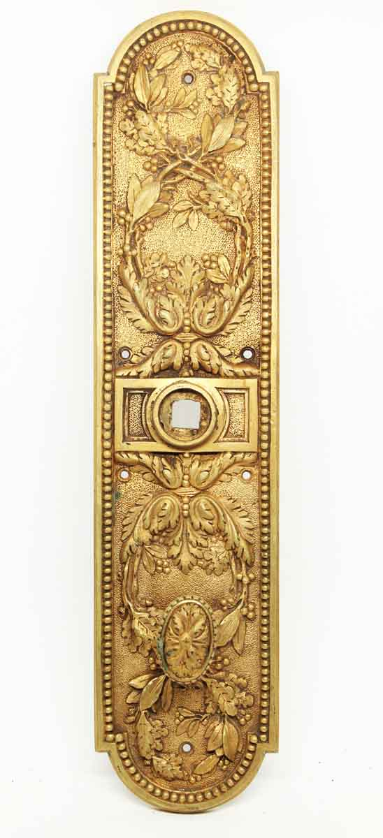 Antique Gilded Ornate Plate with Thumb Latch - Back Plates
