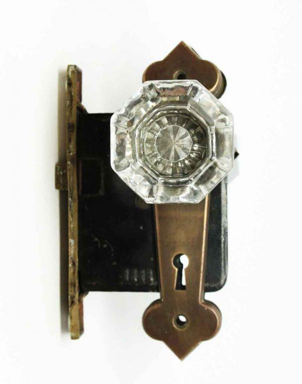Vintage Glass Doorknob Set with Plates & Lock - Door Knob Sets