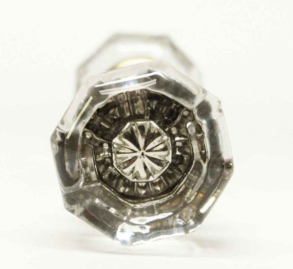 Vintage Glass Knob with Center Star Bullet - Door Knobs