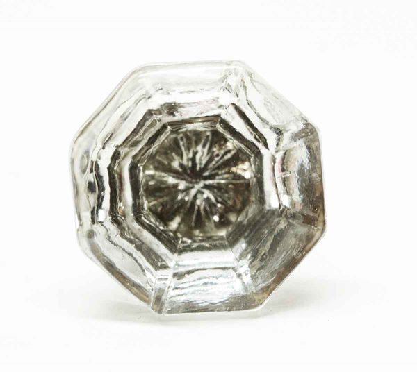 Original Glass Octagon Drawer Knob with Mercury Flower - Cabinet & Furniture Knobs