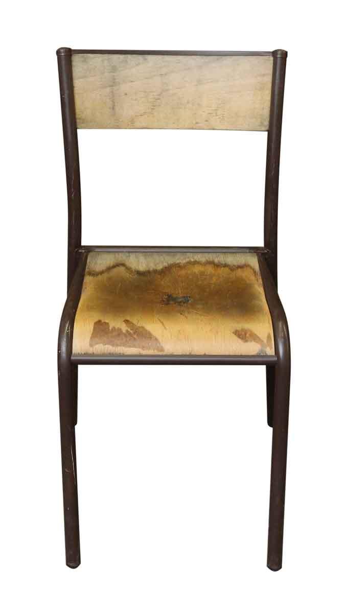 Vintage Brown Metal Wooden School Chair - Vintage Brown Metal Wooden School Chair Olde Good Things