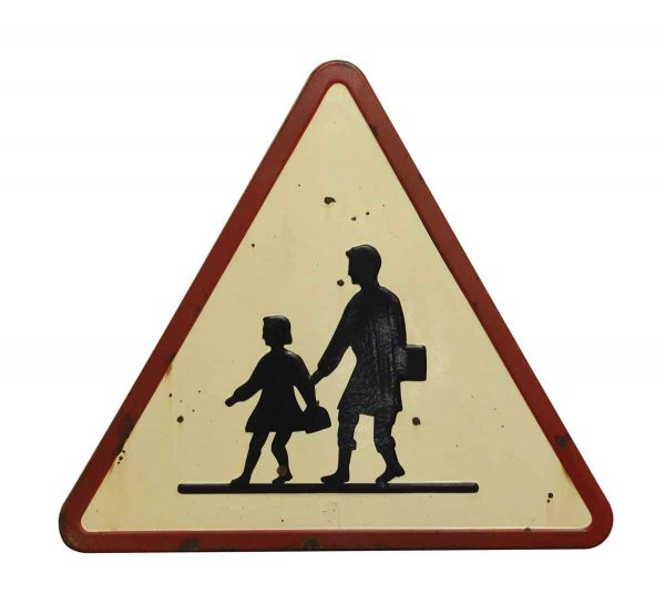 French Pedestrian Crossing Road Sign - Vintage Signs
