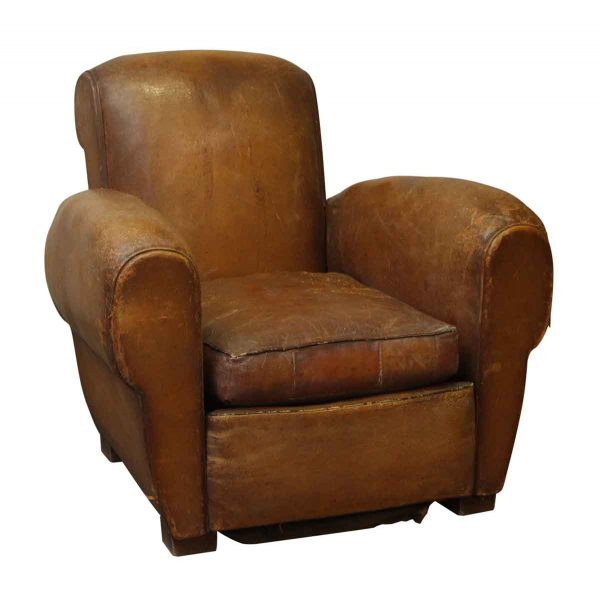 Imported Vintage Brown Leather Club Chair - Living Room