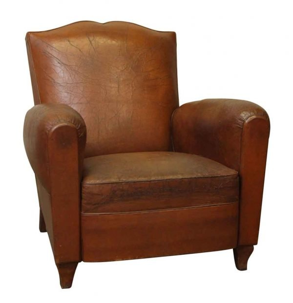 Single Imported Brown Leather Chair - Living Room