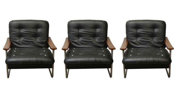 Set of Black Italian Leather Armchairs - Living Room