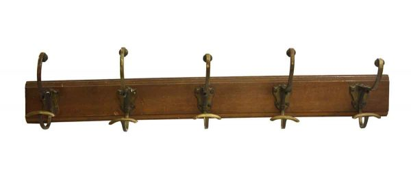 Traditional Style Wood Plank Rack with Five Hooks - Racks