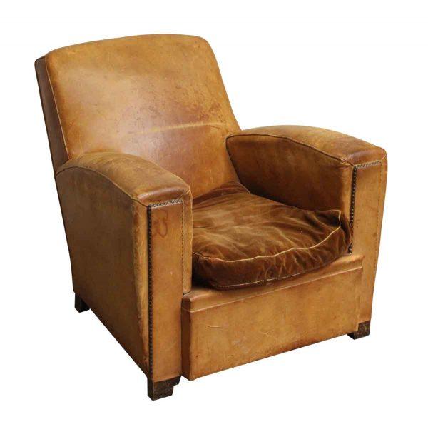 Single Vintage Brown Studded Club Chair - Living Room