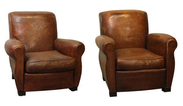 Vintage Pair of Leather Vintage Club Chairs - Living Room