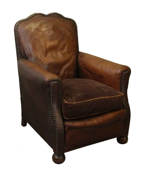 Single Vintage Brown Leather Club Chair - Living Room