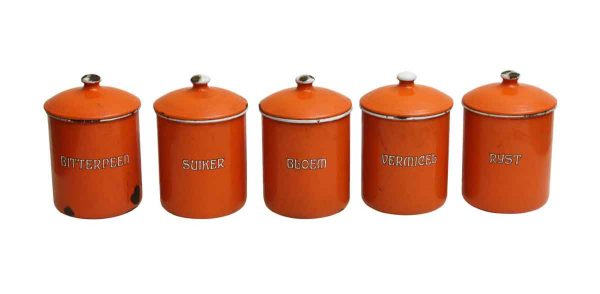 Set of Five Orange Kitchen Metal Canisters - Kitchen