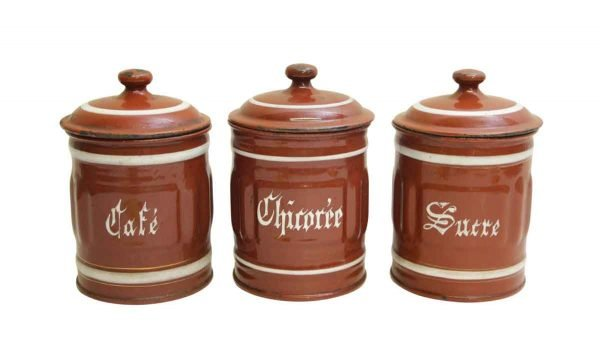 Set of Three French Kitchen Jars with Lids - Kitchen