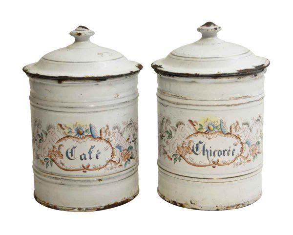 Pair of White Floral Cherubic French Kitchen Pots - Kitchen
