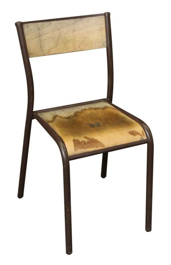 Vintage Brown Metal Wooden School Chair - Seating