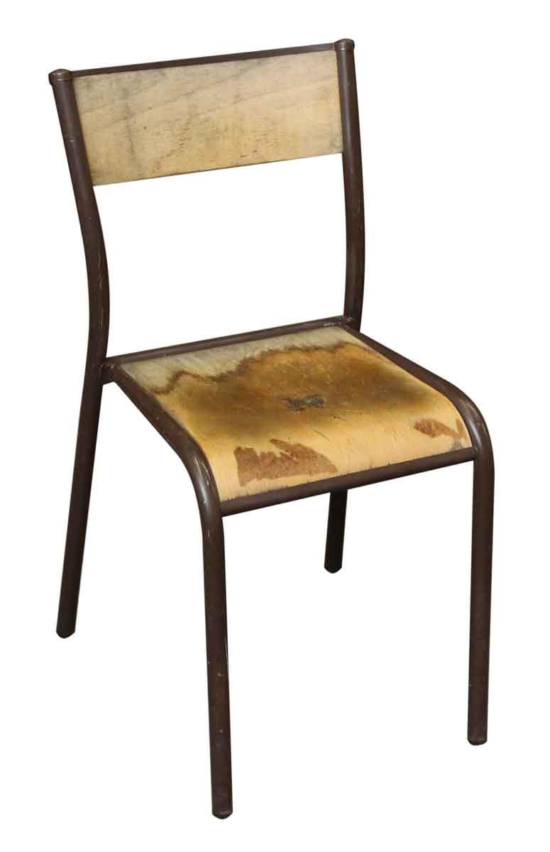 vintage brown metal wooden school chair