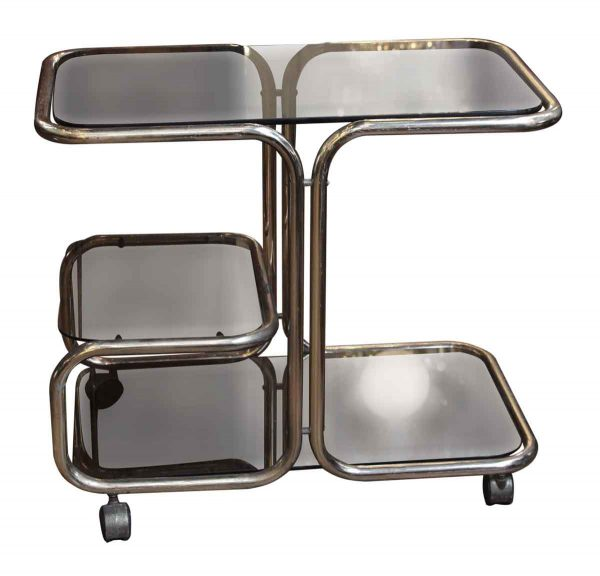 1970s Mid Century Brass & Glass Bar Cart - Carts
