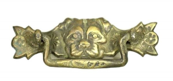 Antique Brass Dog Head Pull - Cabinet & Furniture Pulls