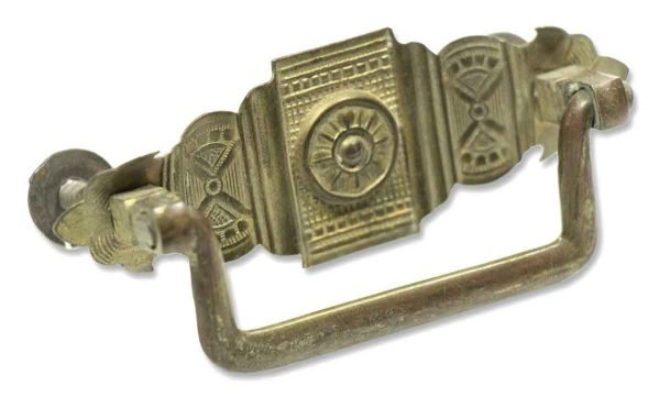 Antique Pressed Brass Deco Pull - Cabinet & Furniture Pulls