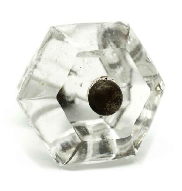 Vintage Clear Large Hexagon Glass Knob - Cabinet & Furniture Knobs
