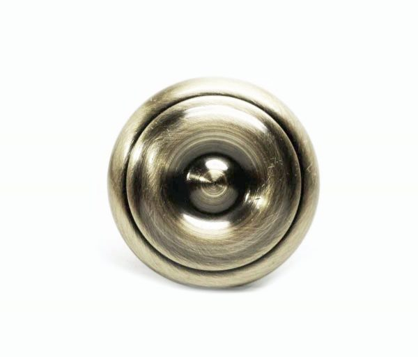 Vintage Concentric Round Brass Knob - Cabinet & Furniture Knobs