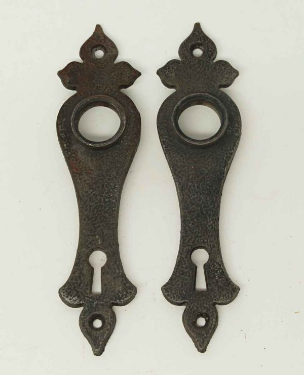 Pair of Colonial Black Iron Door Plates - Back Plates