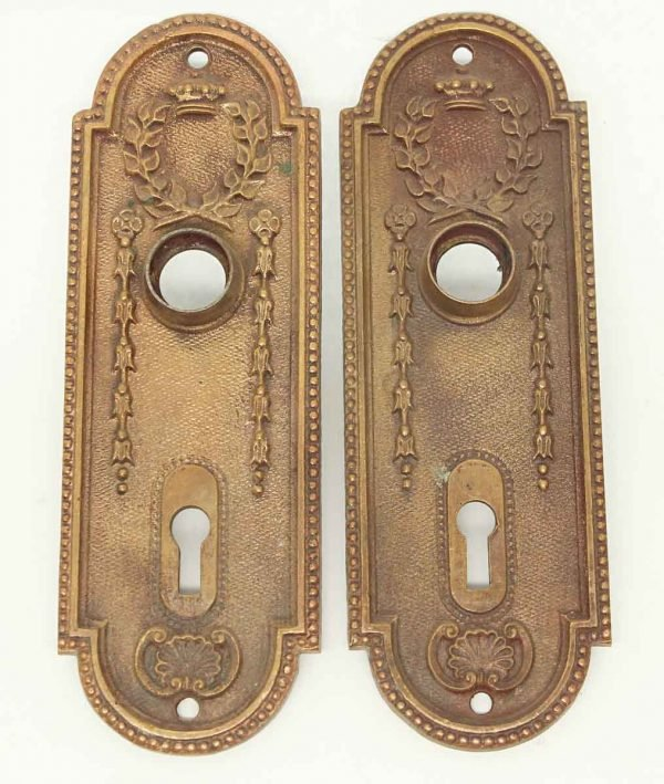 Pair of Old French Bronze Door Plates - Back Plates