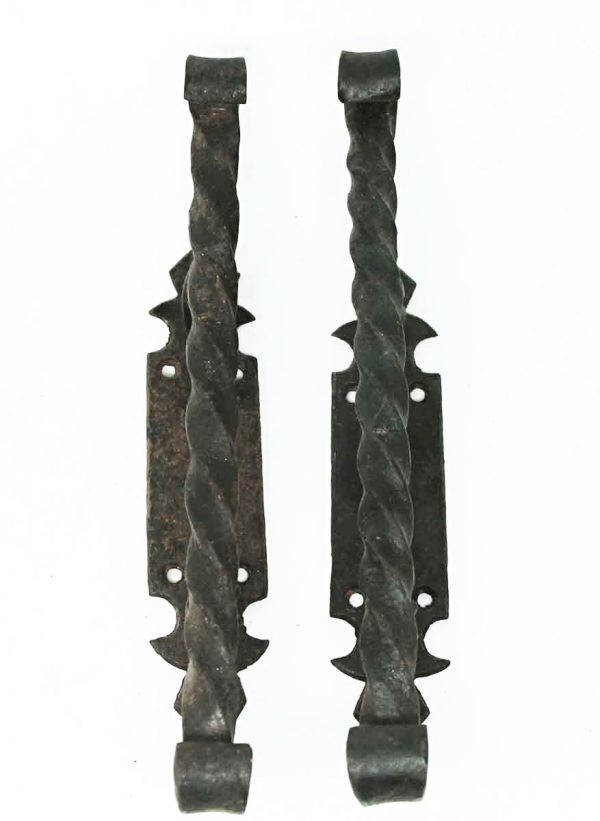 Pair of Black Turned Arts & Crafts Pulls - Door Pulls