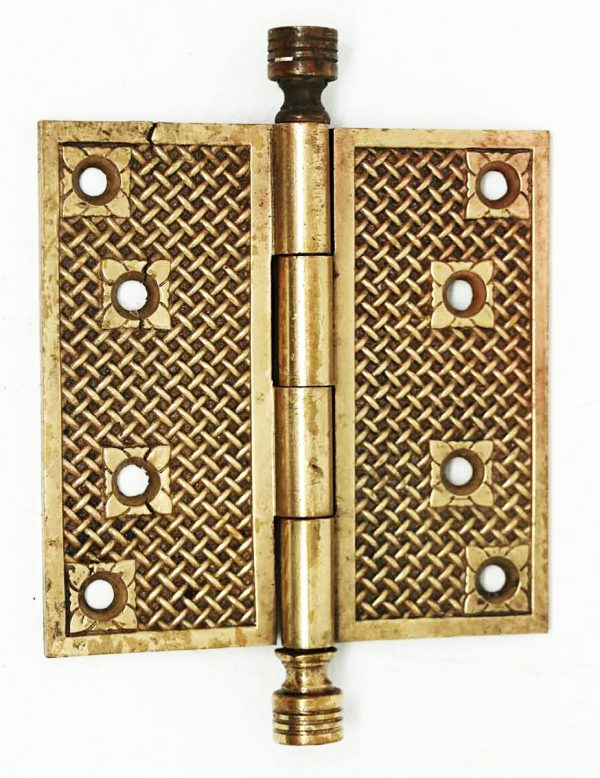 Early Basket Weave Bronze Hinge - Door Hinges