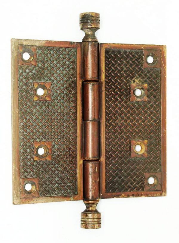 Bronze Basket Weave 1800s Hinge - Door Hinges