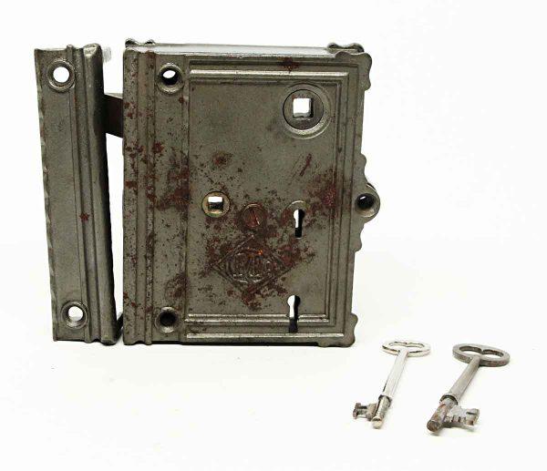 Antique Large Rim Lock Set with Key - Door Locks