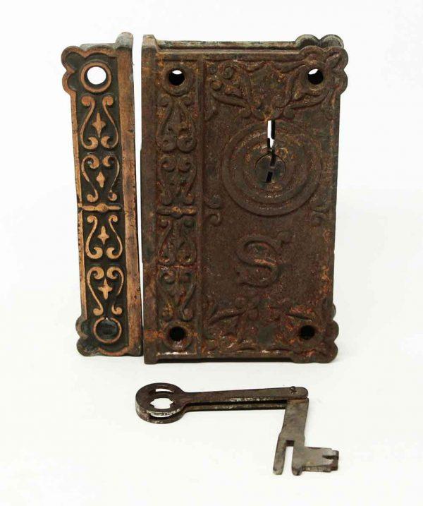 Antique Ornate Emblematic Rim Lock with Key - Door Locks