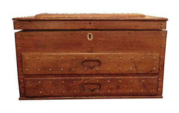 Antique Machinist Studded Wood Tool Box - Tools