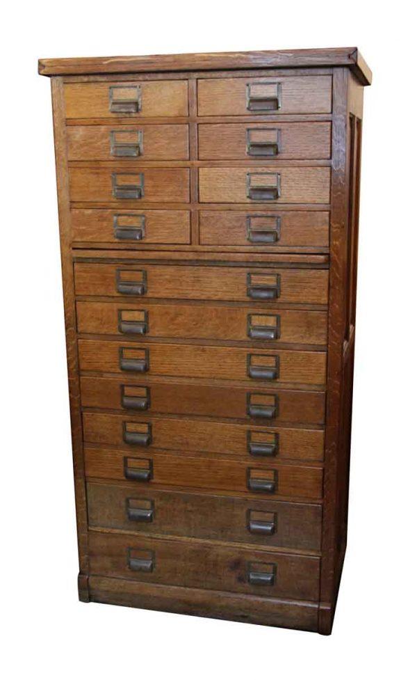 Antique 16 Drawer Oak File Cabinet - Office Furniture