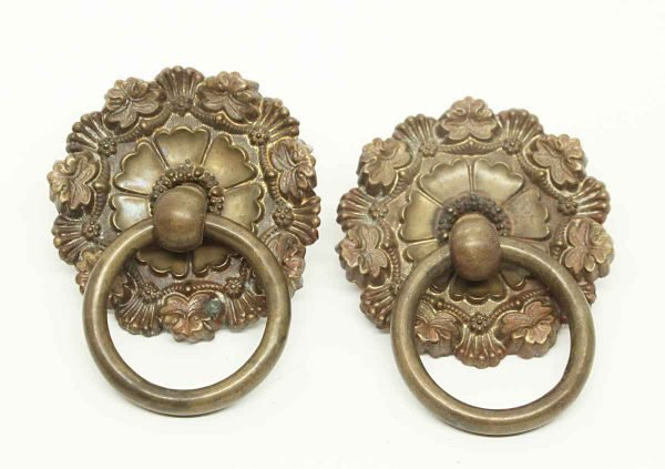Antique Pair of Floral Round Ring Pulls - Cabinet & Furniture Pulls