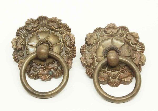 Antique Pair of Floral Round Ring Pulls - Cabinet & Furniture Pulls