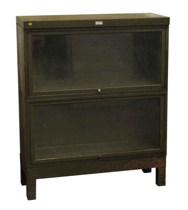 Vintage Dark Green Steel Barrister Bookcase - Bookcases