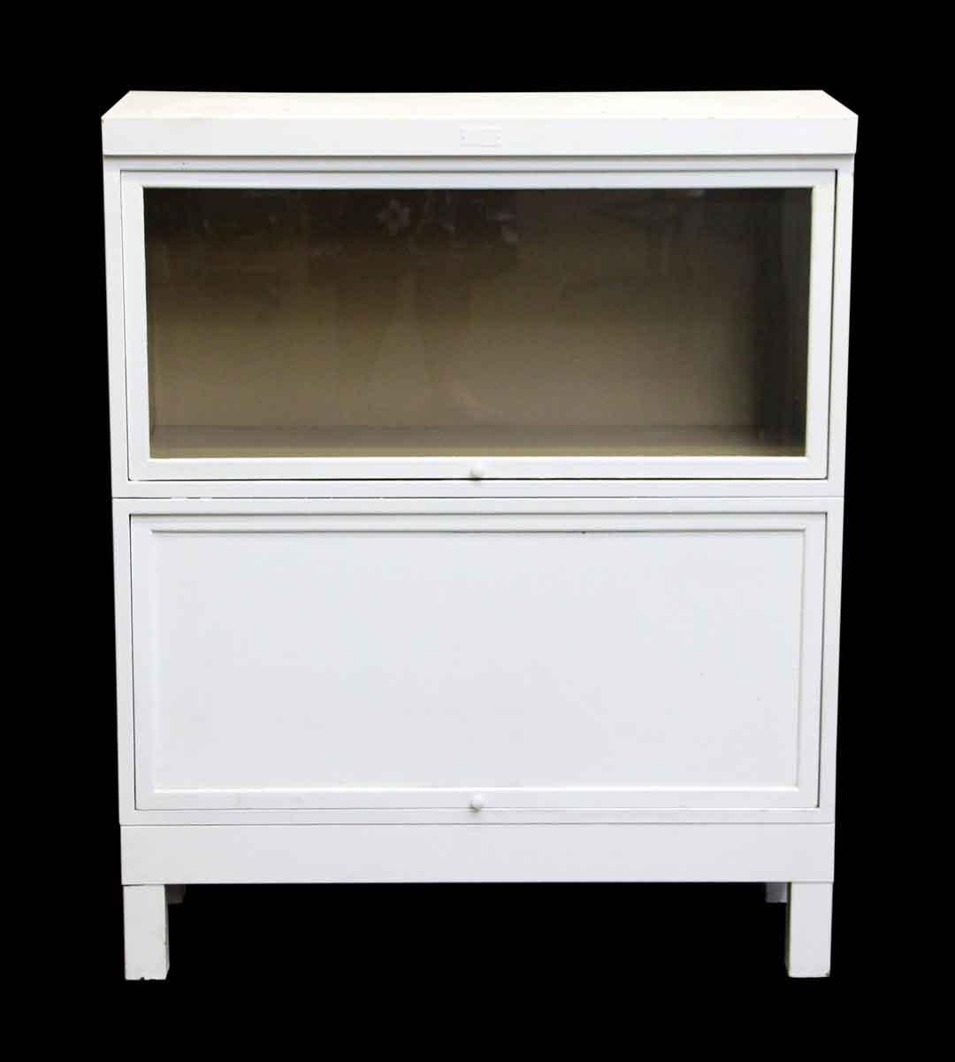 Steel Barrister Bookcase: Vintage White Steel Barrister Bookcase