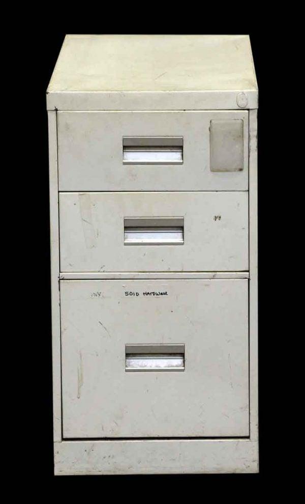 Vintage White Steel Three Drawer File Cabinet - Office Furniture