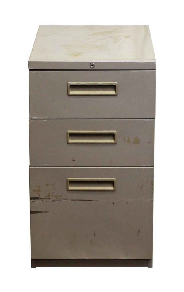 Vintage Gray Wheeled File Cabinet - Office Furniture