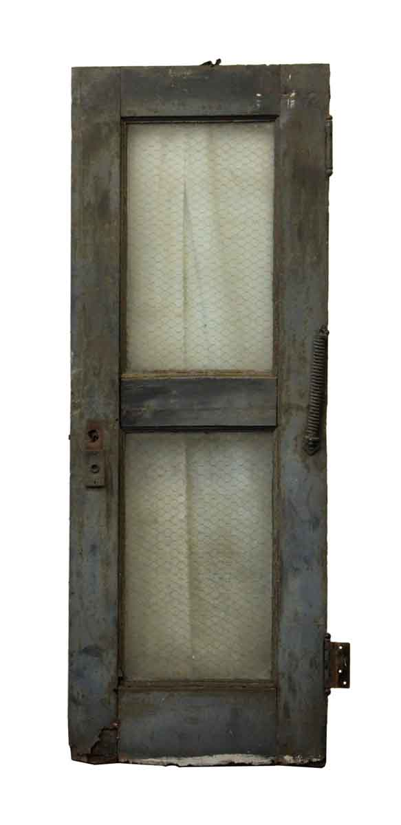 Old Steel Industrial Door With Clear Chicken Wire Glass - Commercial Doors