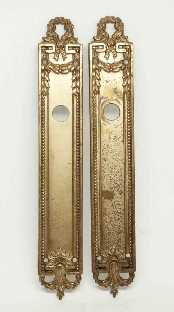 Pair of Gilt Beaded Brass Plates - Back Plates