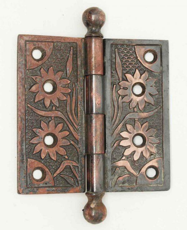 Victorian Dark Copper Floral Hinge - Door Hinges