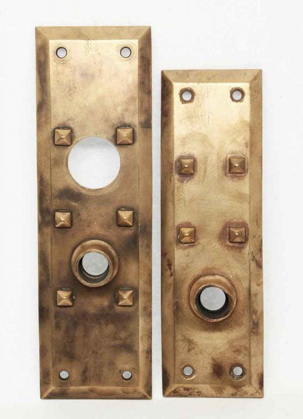 Art & Crafts Cast Bronze Entry Doorknob Plates - Door Hardware